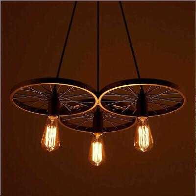 Vintage Industrial Chandelier Ceiling Rustic Wheel Pendant Light Cage 3 Lights