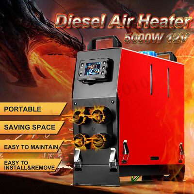5KW 12V Diesel Air Heater 4 Hole All In One LCD Thermostat F/ Trailer Motor Home