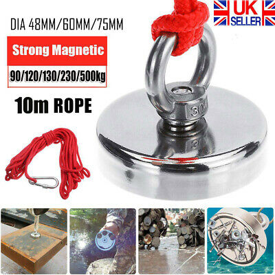 90-500kg Pull Salvage Strong Recovery Magnet Fishing Treasure Neodymium w/ Rope