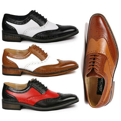 Perforated Wing Tip - Metrocharm MC118 Men's Two Tone Perforated Wing Tip Lace Up Oxford Dress Shoes