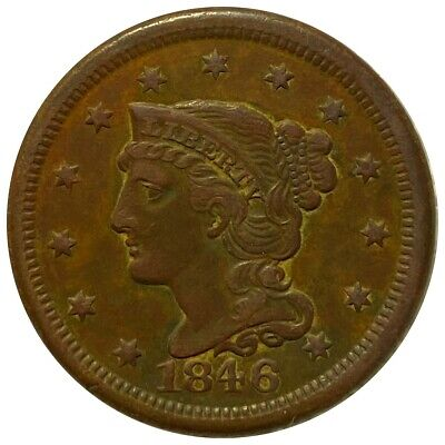1846 Braided Hair Large Cent, Nice Defining Features 1c Copper Cent No Reserve!