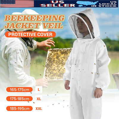 Xl Professional Cotton Full Body Beekeeping Bee Keeping Suit W Veil Hood Home