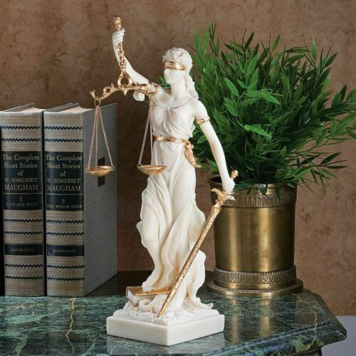Greek Goddess of Blind Justice Bonded Marble Scales of  Equity Sculpture Statue