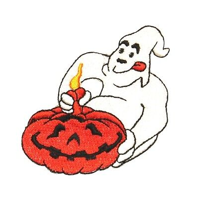 ID 0877 Ghost Carving Pumpkin Patch Halloween Carve Embroidered Iron On Applique - Pumpkin Ghost Carving
