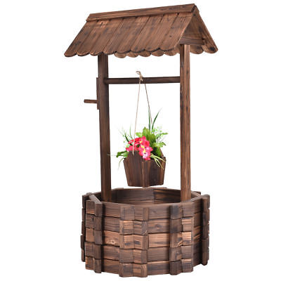 Outdoor Wooden Wishing Well Flower Pot Planter Plant Patio Yard Garden  - Wishing Plant