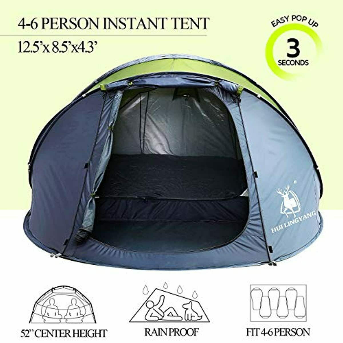 6 Person Pop Up Tent-Automatic Layer Instant Family Tents