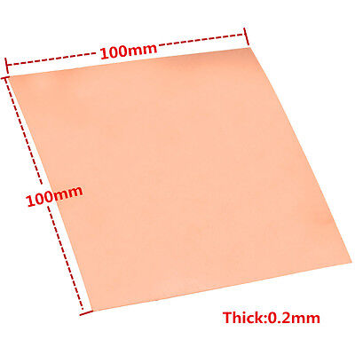 1pc 99.9 Pure Copper Cu Metal Sheet Foil Plate 0.2mm100mm100mm