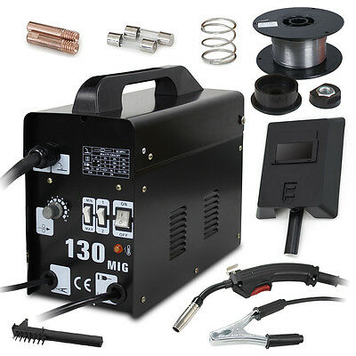 MIG 130 Welder Gas Less Flux Core Wire Automatic Feed Welding Machine W/ Mask Business & Industrial