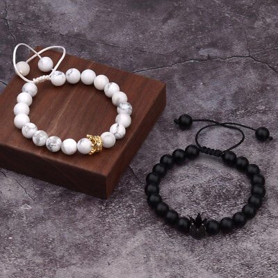 His And Her King Queen Crown 8mm Natural Stone Friendship Couple Bracelets Gift (Friend Ship Bracelets)