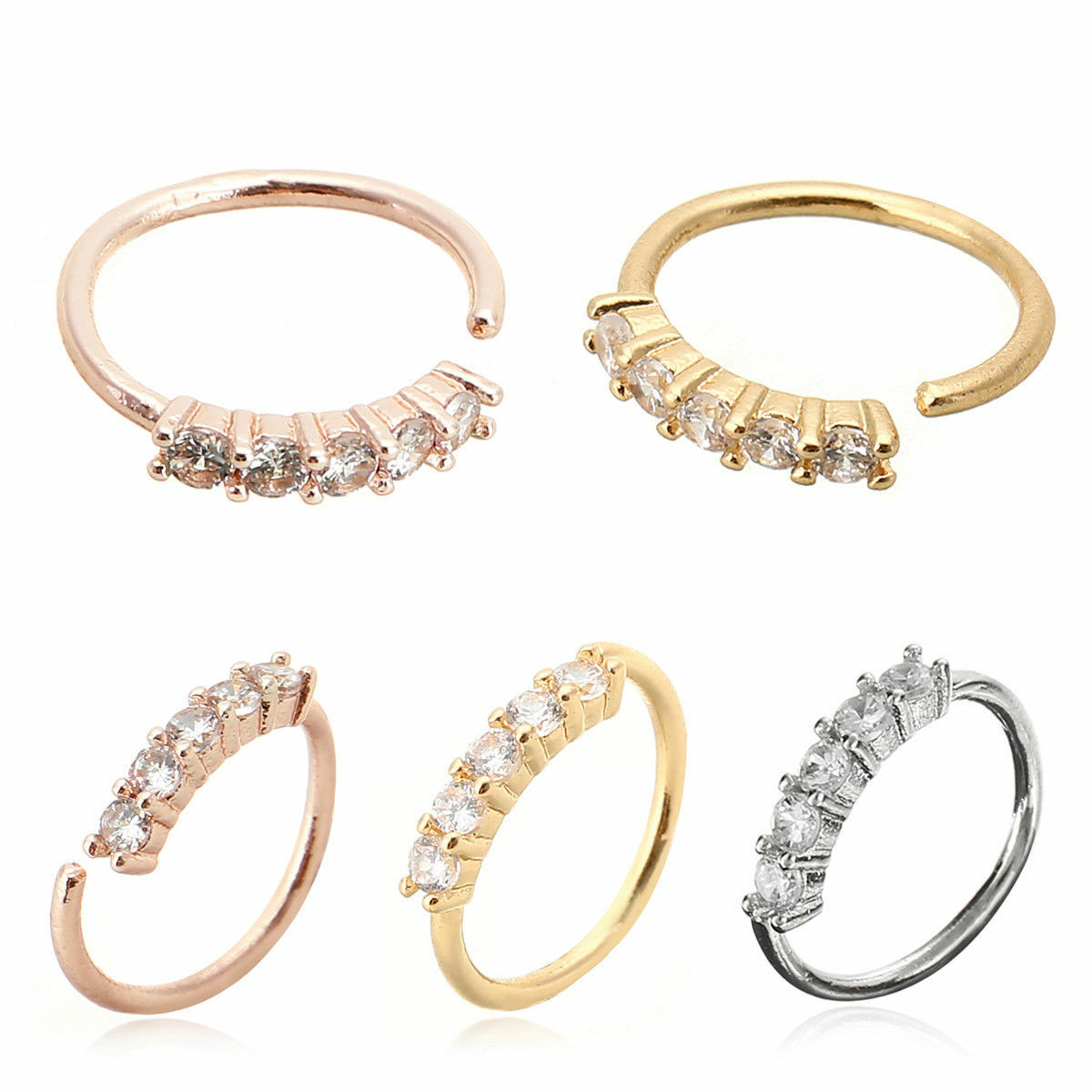 Nose Ring Ear Hoop Tragus Helix Cartilage Earring Crystal Stainless Steel Body Jewelry