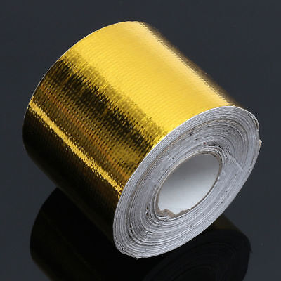 5m*50m Self Adhesive Reflective Gold High Temperature Heat Shield Wrap Tape NEW
