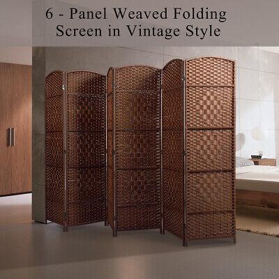 6Ft Panel Foldable Privacy Screen Weave Fiber Room Divider Vintage Style Brown