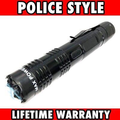 BLACK MONSTER Metal Stun Gun 16 Million Volt Rechargeable LED Flashlight New!