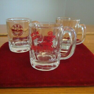"Lot of 3 Vintage 3-1/4"" Miniature Root Beer Mugs 2  A&W  & 1 Dog N Suds"
