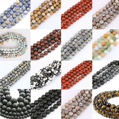 New 4mm 6mm 8mm 10mm Natural Stone Spacer Making Loose Bead DIY Bracelets Gift