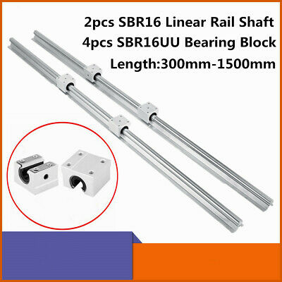 2x Sbr16 L300-1500mm 16mm Linear Slide Guide Shaft Rail4x Sbr16uu Bearing Block