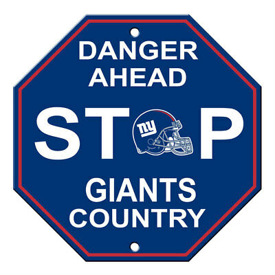 NFL New York Giants Stop Sign Danger Ahead Home Room Bar Decor 12