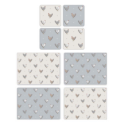 Cooksmart Farmers Kitchen Placemats and Coasters Table Mats Country Style Hens