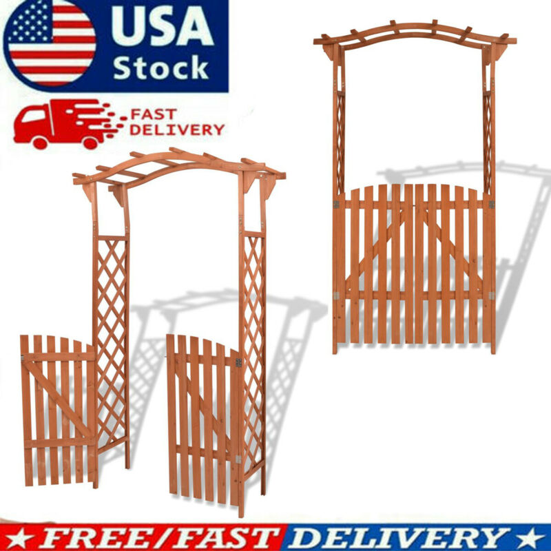 Solid Wood Garden Arch w/ Gate Outdoor Arbor Plant Climbing Support Brown