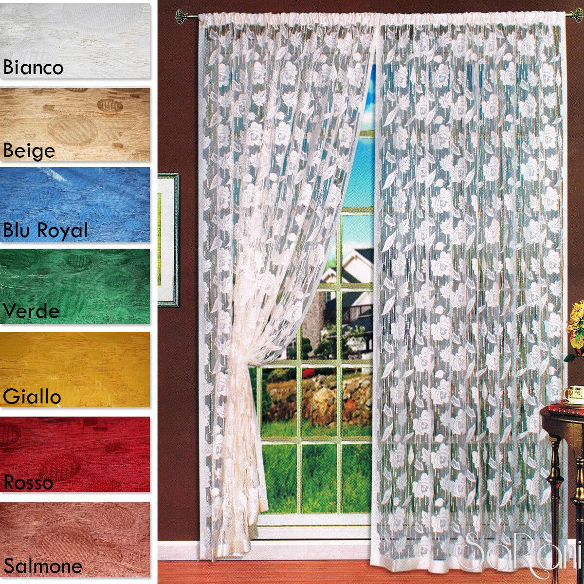 Tenda a Filo Ricamo Rose 2 Pannelli 150x280 cm Arredo Casa Divisorio Vari Colori