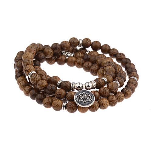 108 Wood Bead Bracelet Multilayer Lotus Buddha Men Vintage P