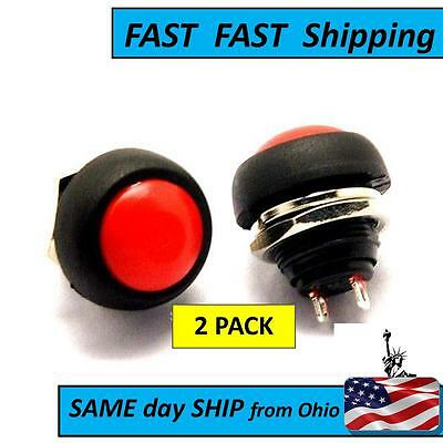 2 Pack 100-125v 2a Red Waterproof Momentary Push Button Mini Round Switch
