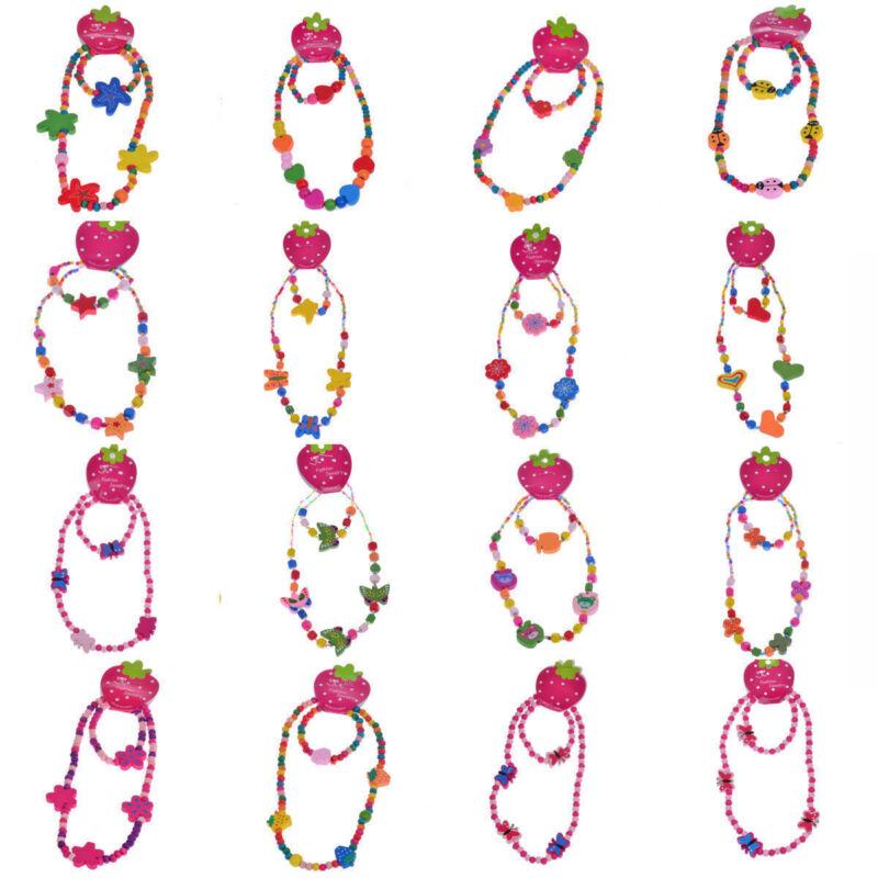 1 Set Cute Kids Jewelry Multicolor Wood Beads Charm Necklace Bracelet Girls Set