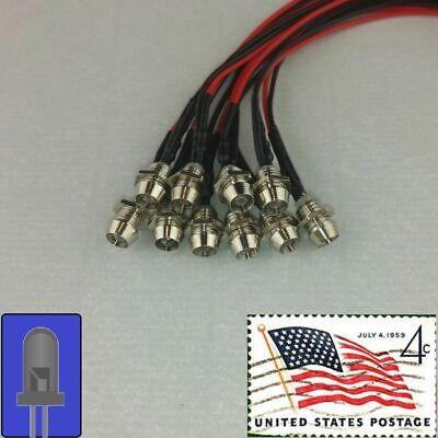 10x 3mm Blue Clear Pre Wired LEDs 12v Chrome Bezel Holder USA