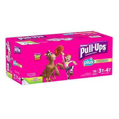 Huggies Pull-Ups Plus Training Pants for Girls 3T-4T 116 COUNT