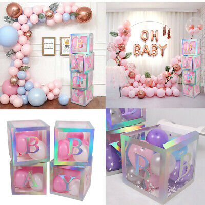 BABY Shower Box Favors 12''Cube Transparent Laser Boxes Boy Girl 1st Party