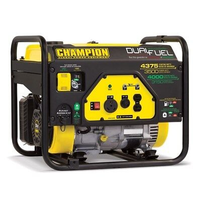 100401R - Champion 3500/4375w Dual Fuel Generator, manual start - REFURBISHED
