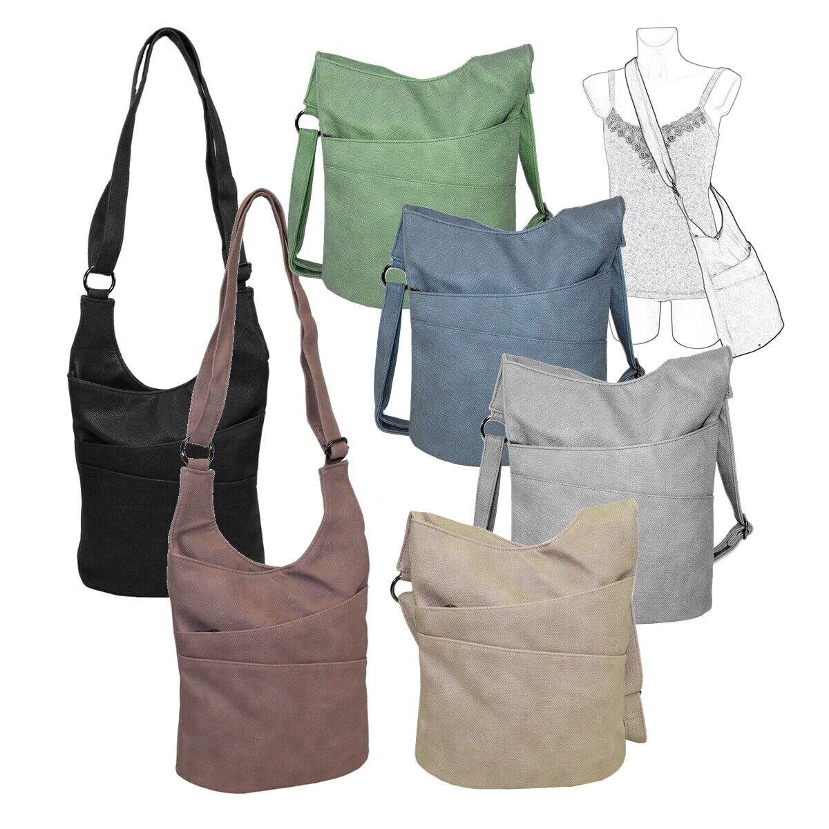 New Bags Damen Umhängetasche Struktur Hobo Crossbag Beuteltasche Handtasche