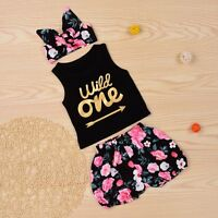 Toddler Kid Baby Girls Summer Outfits Clothes T-shirt Tops+floral Pants 3pcs Set - unbranded - ebay.co.uk