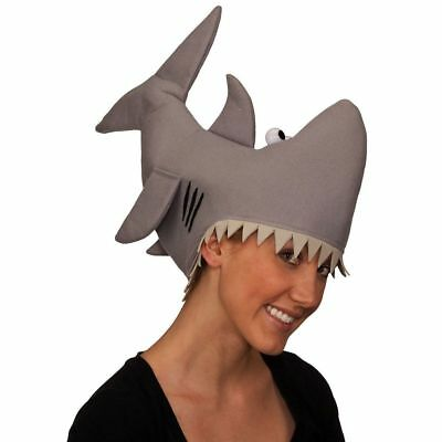ADULT GRAY SHARK HAT FUNNY JAWS KILLER FISH MARINE ANIMAL COSTUME ATTACK - Shark Attack Costume