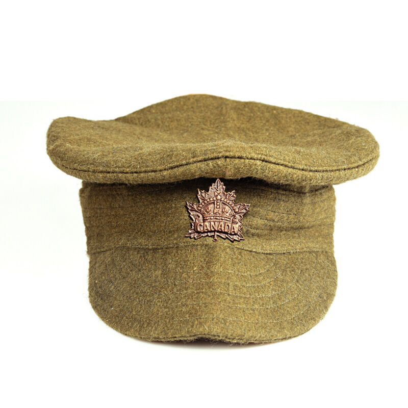 WW1 Canadian/British Trench Cap and Badge - Reproduction (Size 60 CMS) i000