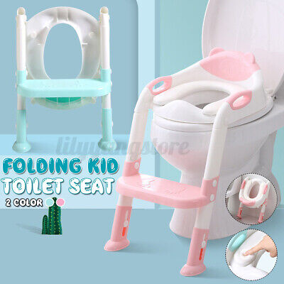 Children Toilet Potty Seat Chair Kids Toddler With Ladder Step Up Training