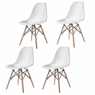 Set of 4 Mid Century Modern DSW White Dining Side Chair Wood Legs Dining Room Set Recliner