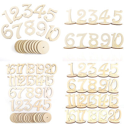 1-20 Wooden Table Numbers Set w/ Base Birthday Wedding Party Decor Gifts DIY Diy Wedding Table