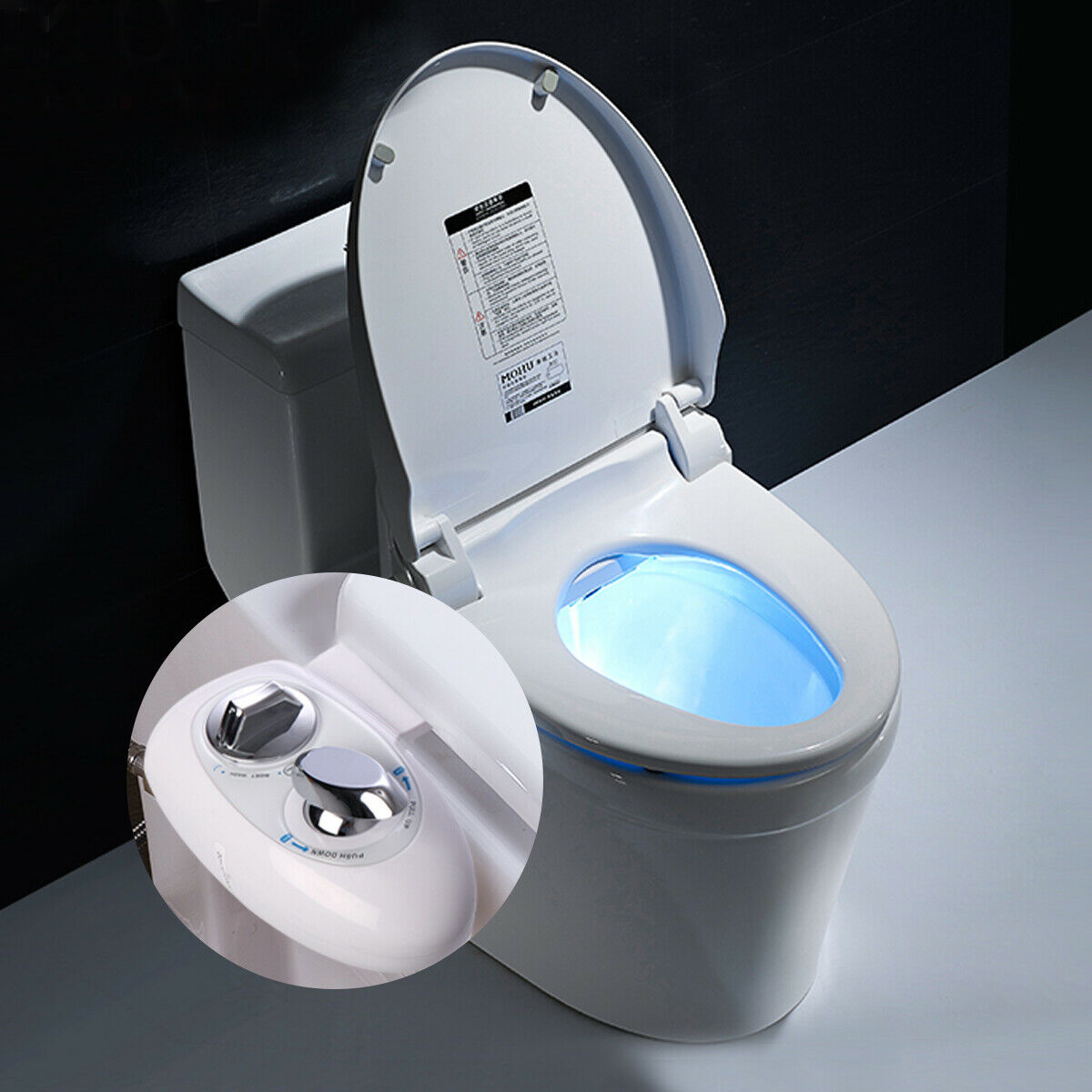 Adjustable Self-Cleaning Nozzle,Non-Electric Water Spray Bidet Toilet Seat - $0.99