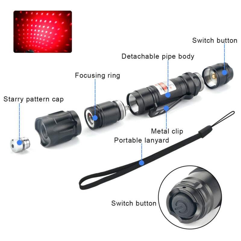 990Miles 650nm Red Laser Pointer Star Beam Lazer + Rechargeable Battery&Charger