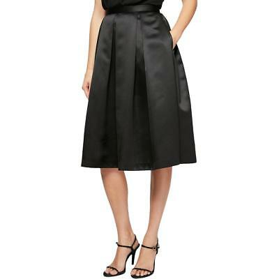 Alex Evenings Women's Black Satin Pleated Knee Length A-Line Skirt Size S $89