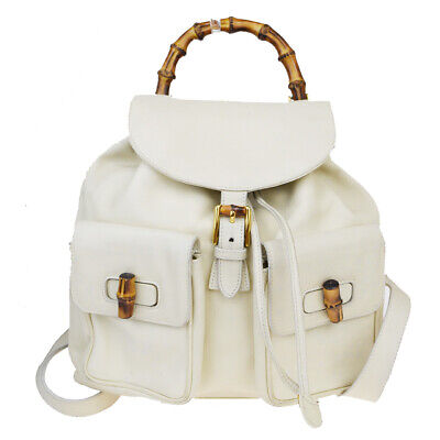 Auth Gucci Bamboo Leather Backpack Ivory 01GC365