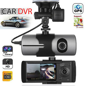 Dual Lens GPS Camera HD Car DVR Dash Cam Video Recorder G-Sensor w/ Night Vision