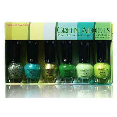 1 Set Kleancolor Green Addicts Vision Of Greens Nail Lacquer Mini Collection 603