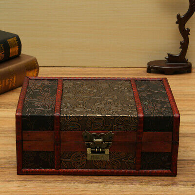 Large Decorative Trinket Jewelry Lock Chest Handmade Wooden Storage Box new  UK