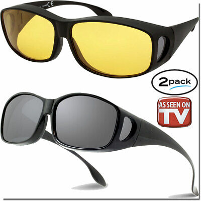 FIT OVER GLASSES NIGHT DRIVING HD AND FIT OVERS As Seen On TV SUNGLASSES (Fitovers Sunglasses)