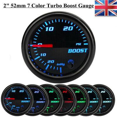 52mm Pointer Led Display Turbo Boost Pressure Gauge Car Meter Psi 12V 7 Colors