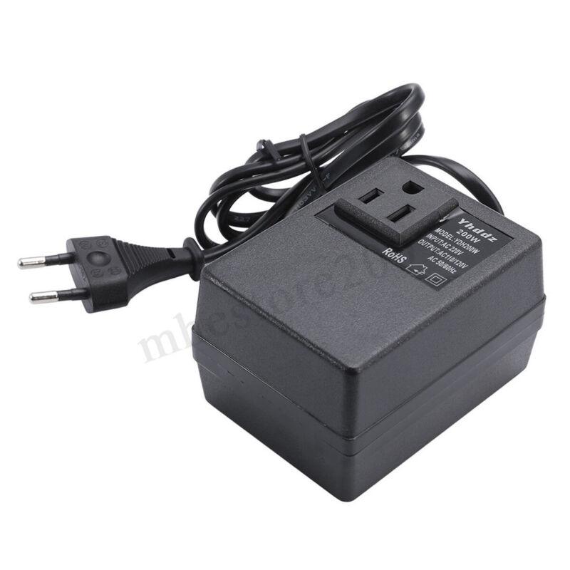 Voltage Converter Transformer 220V to 110V AC 200W Step Down EU Plug     q Ц