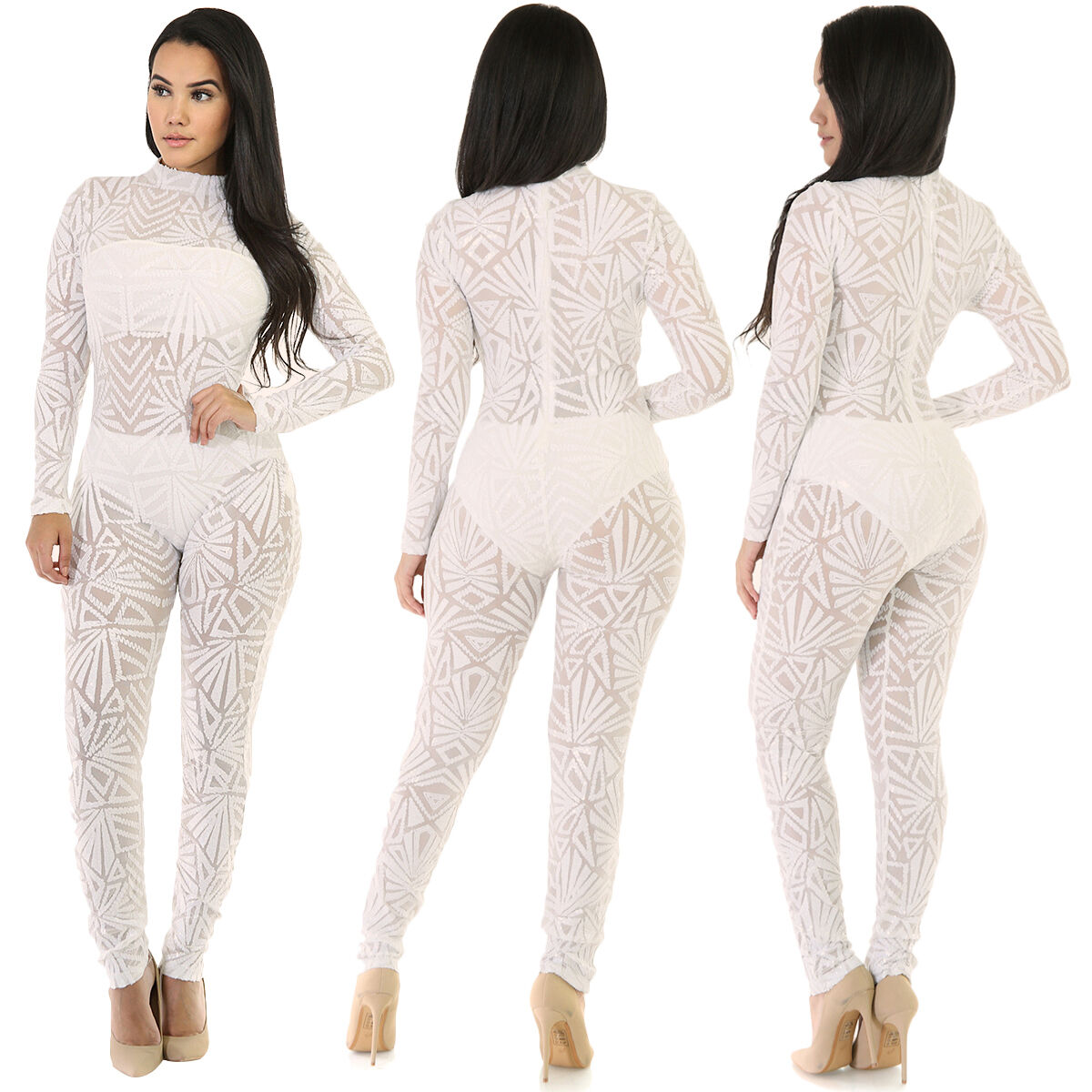 c4a6a3eb471c Details about Women Sexy Long Sleeve See Through Mesh Sequin Jumpsuit  Playsuit Bodysuit Club