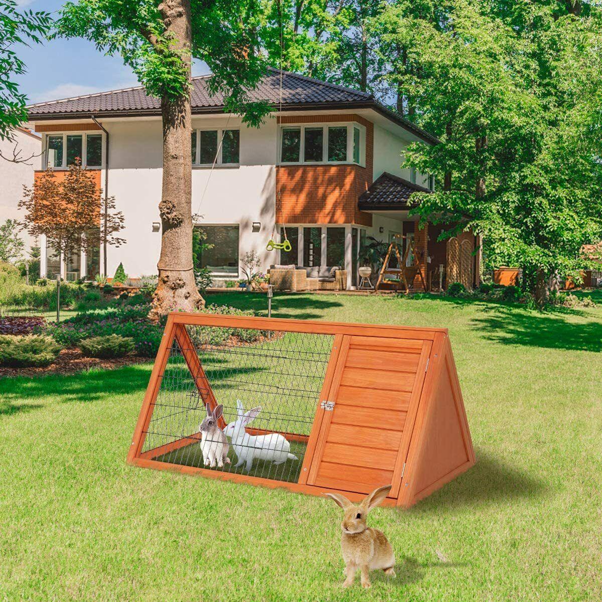 AECOJOY 43″ Wooden Rabbit Hutch Chicken Cage Hen Coop Small Animal Enclosure Cages, Hutches & Enclosure